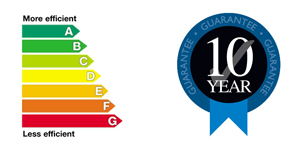 Energy Efficient Logo & 10 year guarantee logo